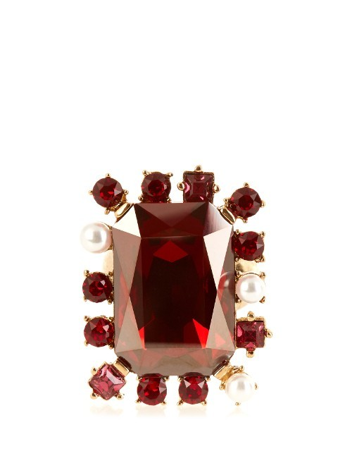 Crystal Embellished Ring - predominant colour: burgundy; secondary colour: gold; occasions: evening, occasion; style: cocktail; size: large/oversized; material: chain/metal; finish: metallic; embellishment: jewels/stone; season: s/s 2016
