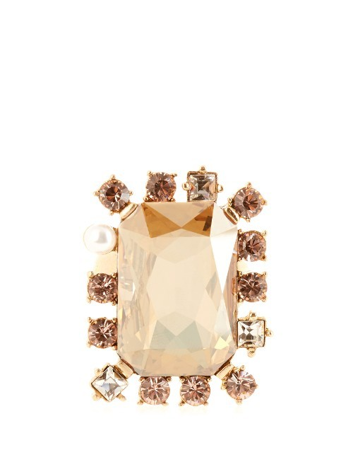 Crystal Embellished Ring - predominant colour: blush; occasions: evening, occasion; style: cocktail; size: large/oversized; material: chain/metal; finish: metallic; embellishment: jewels/stone; season: s/s 2016; wardrobe: event