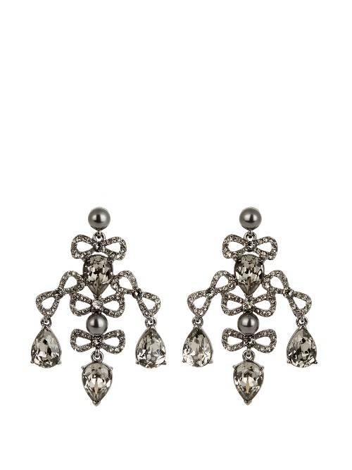 Bow Crystal Embellished Earrings - occasions: evening, occasion; style: chandelier; length: mid; size: large/oversized; material: chain/metal; fastening: pierced; finish: plain; embellishment: beading; predominant colour: pewter; season: s/s 2016