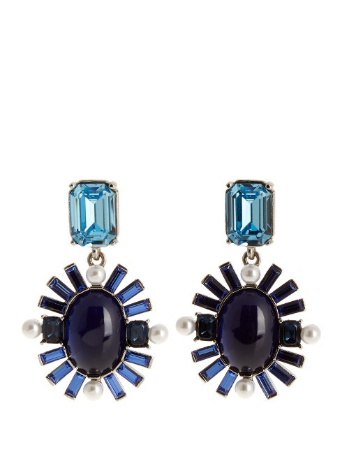 Oval Crystal Embellished Earrings - secondary colour: pale blue; predominant colour: navy; occasions: evening, occasion; style: hoop; length: mid; size: standard; material: chain/metal; fastening: pierced; finish: plain; embellishment: jewels/stone; season: s/s 2016; wardrobe: event