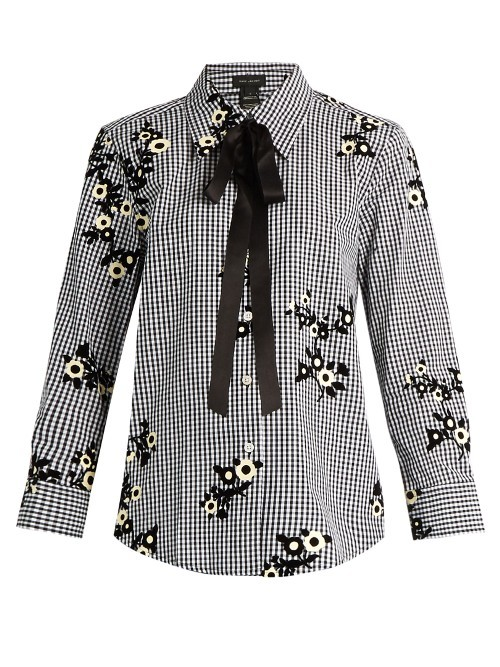 Floral Flocked Gingham Blouse - style: shirt; neckline: pussy bow; secondary colour: ivory/cream; predominant colour: black; occasions: evening; length: standard; fibres: cotton - 100%; fit: body skimming; sleeve length: long sleeve; sleeve style: standard; trends: monochrome; texture group: cotton feel fabrics; pattern type: fabric; pattern size: light/subtle; pattern: florals; multicoloured: multicoloured; season: s/s 2016; wardrobe: event
