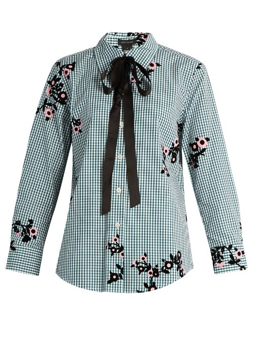 Floral Flocked Gingham Blouse - neckline: pussy bow; style: blouse; predominant colour: pale blue; secondary colour: black; occasions: evening; length: standard; fibres: cotton - 100%; fit: body skimming; sleeve length: long sleeve; sleeve style: standard; texture group: cotton feel fabrics; pattern type: fabric; pattern: florals; multicoloured: multicoloured; season: s/s 2016; wardrobe: event