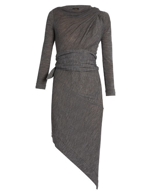 Arro Long Sleeved Wool Dress - pattern: plain; sleeve style: asymmetric sleeve; predominant colour: mid grey; occasions: evening; length: just above the knee; fit: body skimming; style: asymmetric (hem); fibres: wool - 100%; neckline: crew; waist detail: feature waist detail; sleeve length: long sleeve; pattern type: fabric; texture group: jersey - stretchy/drapey; season: s/s 2016; wardrobe: event