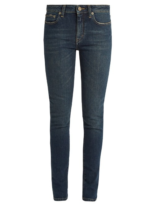Mid Rise Skinny Jeans - style: skinny leg; length: standard; pattern: plain; pocket detail: traditional 5 pocket; waist: mid/regular rise; predominant colour: navy; occasions: casual; fibres: cotton - stretch; jeans detail: dark wash; texture group: denim; pattern type: fabric; season: s/s 2016; wardrobe: basic