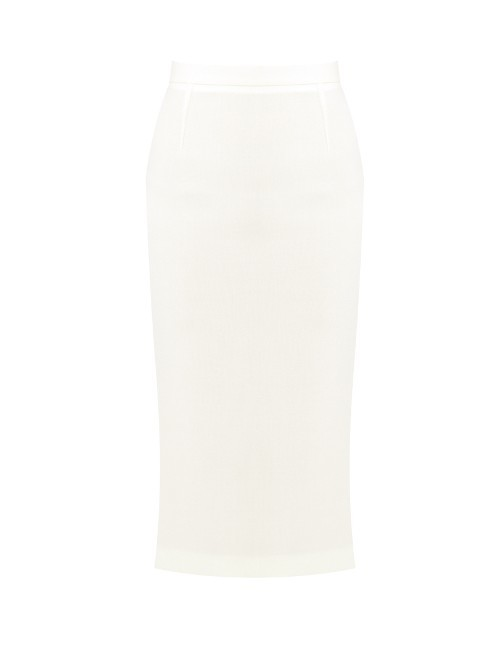 Arreton Double Faced Wool Pencil Skirt - length: below the knee; pattern: plain; style: pencil; fit: tailored/fitted; waist: high rise; predominant colour: white; fibres: wool - 100%; pattern type: fabric; texture group: woven light midweight; occasions: creative work; season: s/s 2016; wardrobe: basic
