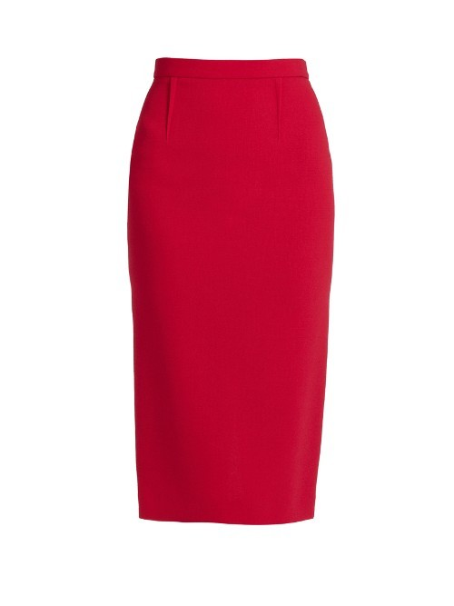 Arreton Double Faced Wool Pencil Skirt - length: below the knee; pattern: plain; style: pencil; fit: tight; waist: high rise; predominant colour: blush; fibres: wool - mix; waist detail: feature waist detail; pattern type: fabric; texture group: woven light midweight; occasions: creative work; season: s/s 2016; wardrobe: basic