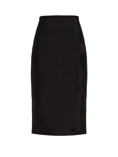 May Double Faced Stretch Knit Skirt - length: below the knee; pattern: plain; style: pencil; fit: tailored/fitted; waist: high rise; predominant colour: black; occasions: work; fibres: wool - mix; pattern type: fabric; texture group: woven light midweight; season: s/s 2016; wardrobe: basic