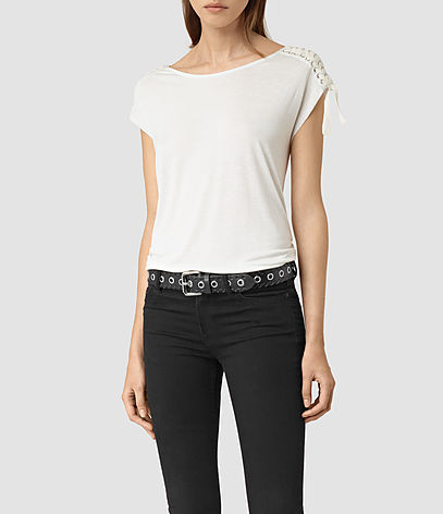 Aria Drape Top - neckline: round neck; sleeve style: capped; pattern: plain; style: t-shirt; predominant colour: white; occasions: casual; length: standard; fibres: viscose/rayon - 100%; fit: body skimming; sleeve length: short sleeve; pattern type: fabric; texture group: jersey - stretchy/drapey; season: s/s 2016; wardrobe: basic