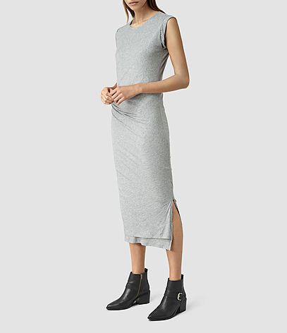 Gamma Dress - style: t-shirt; length: calf length; neckline: round neck; sleeve style: sleeveless; predominant colour: mid grey; occasions: casual, creative work; fit: body skimming; fibres: cotton - stretch; hip detail: slits at hip; sleeve length: sleeveless; texture group: jersey - clingy; pattern type: fabric; pattern size: light/subtle; pattern: marl; season: s/s 2016; wardrobe: basic