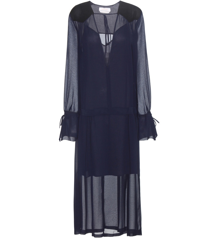 Exclusive To Mytheresa.Com Crêpe Dress - neckline: plunge; pattern: plain; style: maxi dress; length: ankle length; sleeve style: volant; predominant colour: navy; occasions: evening; fit: soft a-line; fibres: silk - 100%; hip detail: subtle/flattering hip detail; sleeve length: long sleeve; texture group: sheer fabrics/chiffon/organza etc.; pattern type: fabric; season: s/s 2016; wardrobe: event