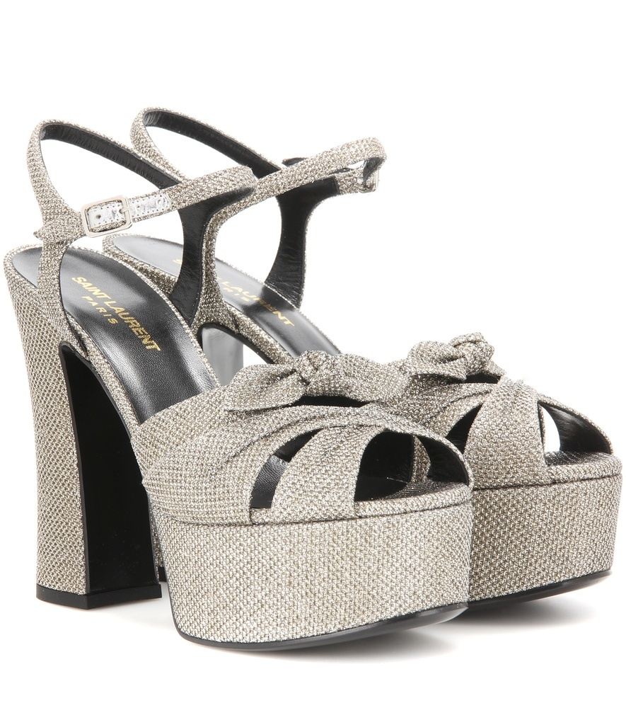 Candy 80 Lamé Platform Sandals - predominant colour: silver; occasions: evening; material: fabric; heel: standard; toe: open toe/peeptoe; style: strappy; finish: metallic; pattern: plain; heel height: very high; shoe detail: platform; season: s/s 2016