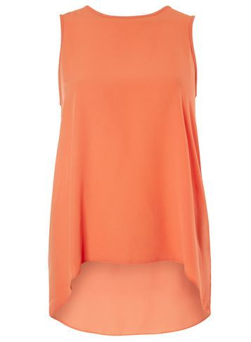 Womens Orange Dip Back Shell Top Orange - pattern: plain; sleeve style: sleeveless; length: below the bottom; predominant colour: coral; occasions: casual; style: top; fibres: polyester/polyamide - 100%; fit: body skimming; neckline: crew; sleeve length: sleeveless; texture group: crepes; pattern type: fabric; season: s/s 2016