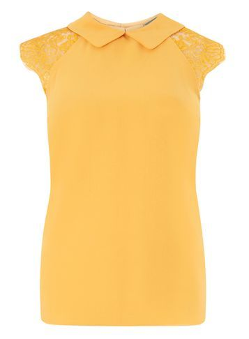 Womens Yellow Lace Soft Tee Yellow - sleeve style: capped; pattern: plain; predominant colour: yellow; occasions: casual; length: standard; style: top; fibres: polyester/polyamide - 100%; fit: body skimming; neckline: no opening/shirt collar/peter pan; sleeve length: short sleeve; pattern type: fabric; texture group: other - light to midweight; embellishment: lace; shoulder detail: sheer at shoulder; season: s/s 2016; wardrobe: highlight