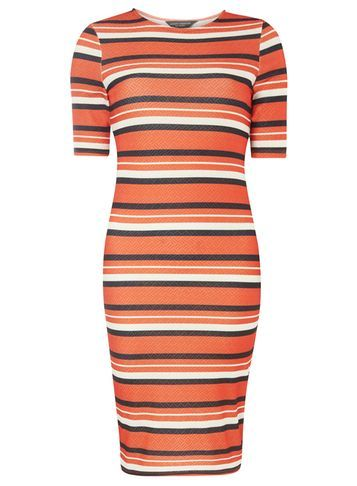Womens Orange Zip Bodycon Dress Orange - length: mid thigh; fit: tight; pattern: horizontal stripes; style: bodycon; hip detail: draws attention to hips; secondary colour: white; predominant colour: bright orange; occasions: casual; fibres: polyester/polyamide - stretch; neckline: crew; sleeve length: short sleeve; sleeve style: standard; texture group: jersey - clingy; pattern type: fabric; pattern size: standard; multicoloured: multicoloured; season: s/s 2016; wardrobe: highlight