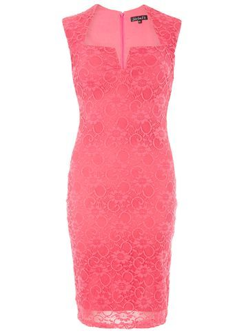 "Womens **Scarlett B Pink ""Lauren"" Bodycon Dress Pink - style: shift; neckline: v-neck; fit: tailored/fitted; pattern: plain; sleeve style: sleeveless; predominant colour: hot pink; occasions: evening; length: just above the knee; fibres: polyester/polyamide - stretch; sleeve length: sleeveless; texture group: lace; pattern type: fabric; pattern size: standard; season: s/s 2016; wardrobe: event"