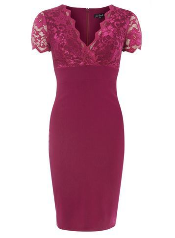 "Womens **Scarlett B Magenta ""Chloe"" Bodycon Dress Magenta - style: faux wrap/wrap; neckline: v-neck; fit: tailored/fitted; hip detail: draws attention to hips; predominant colour: magenta; occasions: evening, occasion; length: just above the knee; fibres: polyester/polyamide - 100%; sleeve length: short sleeve; sleeve style: standard; texture group: crepes; pattern type: fabric; pattern size: standard; pattern: patterned/print; embellishment: lace; season: s/s 2016; wardrobe: event; embellishment location: bust"