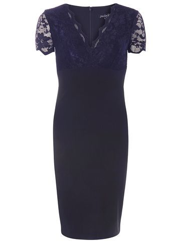 "Womens **Scarlett B Navy ""Chloe"" Bodycon Dress Navy - style: faux wrap/wrap; neckline: v-neck; sleeve style: capped; fit: tailored/fitted; bust detail: added detail/embellishment at bust; predominant colour: navy; occasions: evening, occasion; length: on the knee; fibres: polyester/polyamide - 100%; sleeve length: short sleeve; texture group: crepes; pattern type: fabric; pattern size: standard; pattern: patterned/print; embellishment: lace; season: s/s 2016"