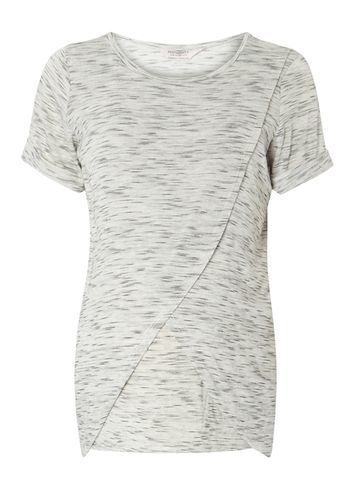 Womens **Nursing Maternity Grey Space Dye Tee Grey - pattern: plain; style: t-shirt; predominant colour: light grey; occasions: casual; length: standard; fibres: polyester/polyamide - stretch; fit: body skimming; neckline: crew; sleeve length: short sleeve; sleeve style: standard; pattern type: fabric; texture group: jersey - stretchy/drapey; season: s/s 2016