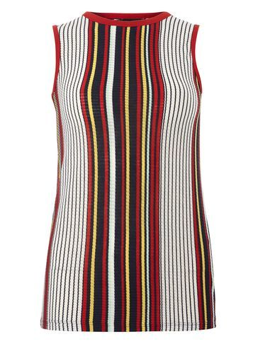 Womens Navy Vertical Stripe Tank Blue - pattern: vertical stripes; sleeve style: sleeveless; style: vest top; secondary colour: white; predominant colour: true red; occasions: casual; length: standard; fibres: polyester/polyamide - mix; fit: body skimming; neckline: crew; sleeve length: sleeveless; pattern type: fabric; texture group: jersey - stretchy/drapey; multicoloured: multicoloured; season: s/s 2016