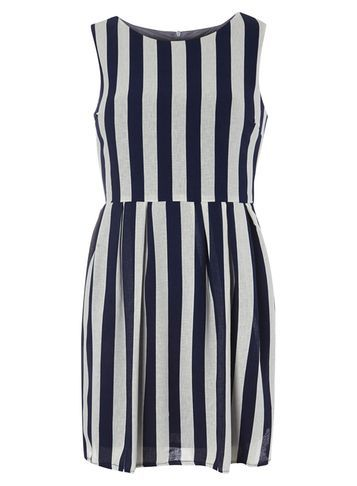 Womens **Tenki Blue Striped Skater Dress Blue - length: mid thigh; pattern: vertical stripes; sleeve style: sleeveless; predominant colour: navy; occasions: casual; fit: fitted at waist & bust; style: fit & flare; fibres: polyester/polyamide - 100%; neckline: crew; sleeve length: sleeveless; texture group: sheer fabrics/chiffon/organza etc.; pattern type: fabric; season: s/s 2016; wardrobe: highlight