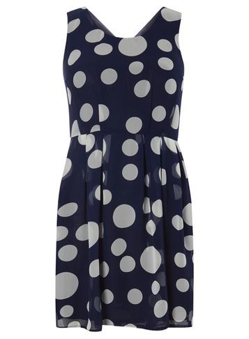 Womens **Tenki Blue Polka Dot Skater Dress Blue - neckline: v-neck; sleeve style: sleeveless; pattern: polka dot; predominant colour: light grey; occasions: casual; length: just above the knee; fit: fitted at waist & bust; style: fit & flare; fibres: polyester/polyamide - 100%; sleeve length: sleeveless; texture group: sheer fabrics/chiffon/organza etc.; pattern type: fabric; season: s/s 2016; wardrobe: highlight