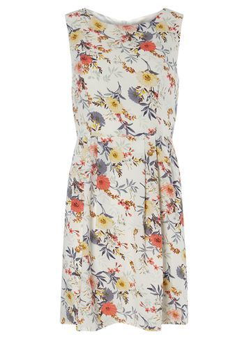 Womens **Tenki Cream Floral Skater Dress Cream - length: mid thigh; sleeve style: sleeveless; waist detail: fitted waist; predominant colour: white; secondary colour: coral; occasions: casual, creative work; fit: fitted at waist & bust; style: fit & flare; fibres: polyester/polyamide - 100%; neckline: crew; hip detail: subtle/flattering hip detail; sleeve length: sleeveless; pattern type: fabric; pattern: patterned/print; texture group: woven light midweight; multicoloured: multicoloured; season: s/s 2016; wardrobe: highlight