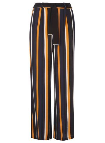 Womens Navy And Yellow Stripe Trousers Black - length: standard; pattern: vertical stripes; style: palazzo; waist: high rise; waist detail: belted waist/tie at waist/drawstring; predominant colour: navy; secondary colour: bright orange; occasions: casual, creative work; fibres: polyester/polyamide - 100%; fit: wide leg; pattern type: fabric; texture group: woven light midweight; pattern size: standard (bottom); multicoloured: multicoloured; season: s/s 2016; wardrobe: highlight