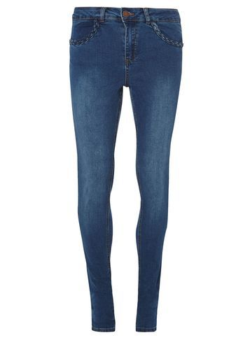 Womens **Tall Plait Skinny Jeans Blue - style: skinny leg; length: standard; pattern: plain; waist: mid/regular rise; predominant colour: denim; occasions: casual; fibres: cotton - stretch; texture group: denim; pattern type: fabric; season: s/s 2016; wardrobe: basic