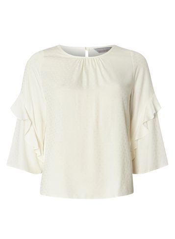 Womens Petite Ivory Spot Ruffle Top Ivory - pattern: plain; predominant colour: ivory/cream; occasions: evening; length: standard; style: top; fit: body skimming; neckline: crew; sleeve length: 3/4 length; sleeve style: standard; pattern type: fabric; texture group: woven light midweight; fibres: viscose/rayon - mix; season: s/s 2016; wardrobe: event