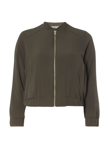 Womens Petite Khaki Soft Bomber Khaki - pattern: plain; collar: round collar/collarless; style: bomber; predominant colour: khaki; occasions: casual, creative work; length: standard; fit: straight cut (boxy); fibres: polyester/polyamide - stretch; sleeve length: long sleeve; sleeve style: standard; collar break: high; pattern type: fabric; pattern size: standard; texture group: woven light midweight; season: s/s 2016