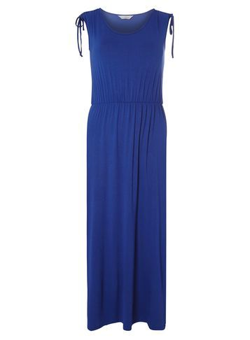 Womens Petite Cobalt Maxi Dress Cobalt - neckline: round neck; pattern: plain; sleeve style: sleeveless; style: maxi dress; length: ankle length; predominant colour: royal blue; occasions: casual, holiday; fit: body skimming; fibres: cotton - stretch; sleeve length: sleeveless; pattern type: fabric; texture group: jersey - stretchy/drapey; season: s/s 2016; wardrobe: highlight