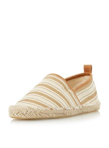 Womens **Head Over Heels Stripe Espadrilles Gold - predominant colour: ivory/cream; occasions: casual, creative work; material: fabric; heel height: flat; toe: round toe; finish: plain; pattern: patterned/print; style: espadrilles; season: s/s 2016