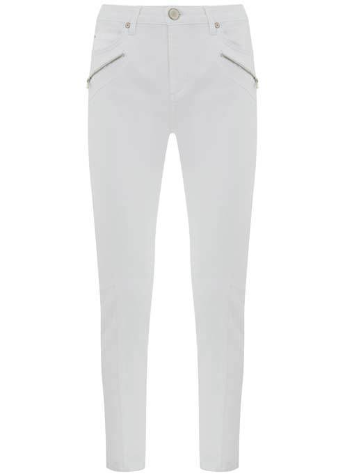 Darby White Biker Skinny Jean - style: skinny leg; length: standard; pattern: plain; waist: mid/regular rise; predominant colour: white; occasions: casual, creative work; fibres: cotton - stretch; texture group: denim; pattern type: fabric; embellishment: zips; season: s/s 2016