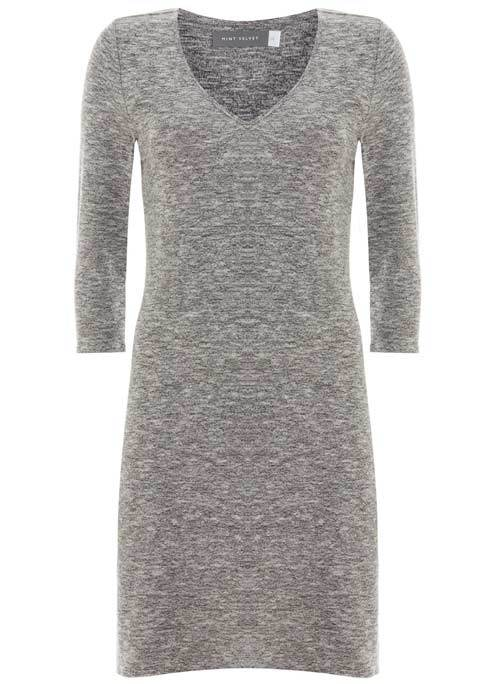 Grey Marl Longline V Neck Tunic - neckline: v-neck; pattern: plain; style: tunic; predominant colour: mid grey; occasions: casual; fibres: polyester/polyamide - stretch; fit: body skimming; length: mid thigh; sleeve length: 3/4 length; sleeve style: standard; pattern type: fabric; texture group: jersey - stretchy/drapey; season: s/s 2016