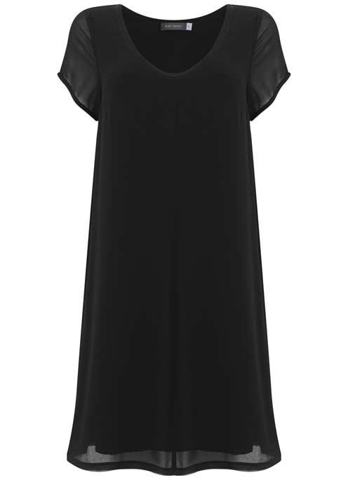 Black Overdye Trapeze Dress - style: shift; neckline: round neck; pattern: plain; predominant colour: black; occasions: evening; length: just above the knee; fit: soft a-line; fibres: polyester/polyamide - 100%; sleeve length: short sleeve; sleeve style: standard; texture group: sheer fabrics/chiffon/organza etc.; pattern type: fabric; season: s/s 2016