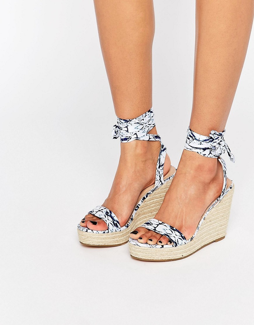 Talent Tie Leg Wedge Sandals Print - predominant colour: white; secondary colour: navy; occasions: casual, holiday; material: fabric; heel height: high; ankle detail: ankle tie; heel: wedge; toe: open toe/peeptoe; style: standard; finish: plain; pattern: patterned/print; multicoloured: multicoloured; season: s/s 2016; wardrobe: highlight