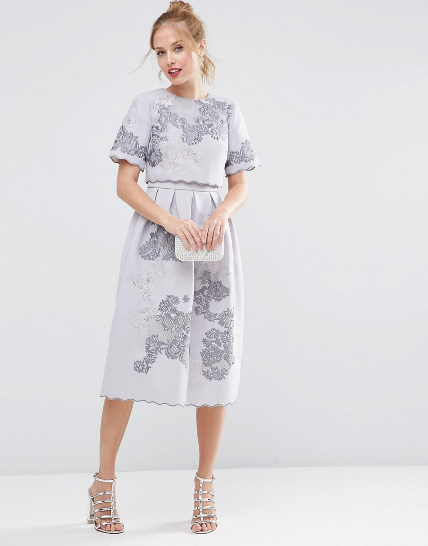 Salon Embroidered Crop Top Midi Dress Lilac - length: below the knee; predominant colour: lilac; occasions: evening, occasion; fit: fitted at waist & bust; style: fit & flare; fibres: polyester/polyamide - 100%; neckline: crew; hip detail: adds bulk at the hips; sleeve length: short sleeve; sleeve style: standard; pattern type: fabric; pattern: patterned/print; texture group: other - light to midweight; embellishment: embroidered; season: s/s 2016; wardrobe: event; embellishment location: pattern