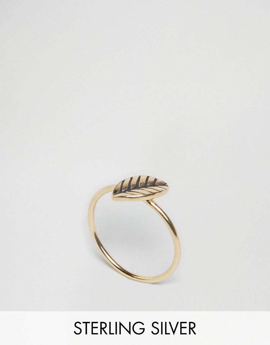 Gold Plated Sterling Silver Leaf Ring Gold - predominant colour: gold; occasions: casual, creative work; style: cocktail; size: standard; material: chain/metal; finish: metallic; season: s/s 2016; wardrobe: highlight