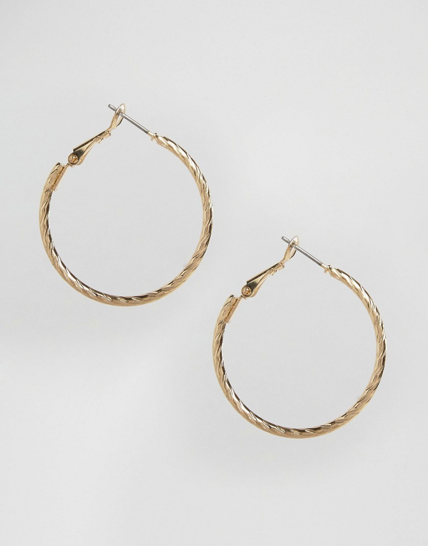 Large Etched Hoop Earrings Gold - predominant colour: gold; occasions: casual, work, creative work; style: hoop; length: mid; size: standard; material: chain/metal; fastening: pierced; finish: metallic; embellishment: chain/metal; season: s/s 2016; wardrobe: basic