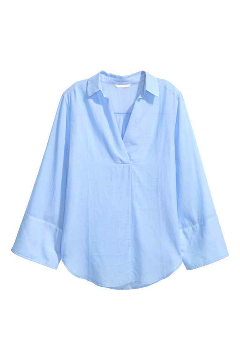 Wide Sleeved Cotton Blouse - neckline: shirt collar/peter pan/zip with opening; pattern: plain; style: shirt; predominant colour: pale blue; occasions: casual, work; length: standard; fibres: cotton - 100%; fit: body skimming; sleeve length: long sleeve; sleeve style: standard; texture group: cotton feel fabrics; pattern type: fabric; season: s/s 2016; wardrobe: highlight