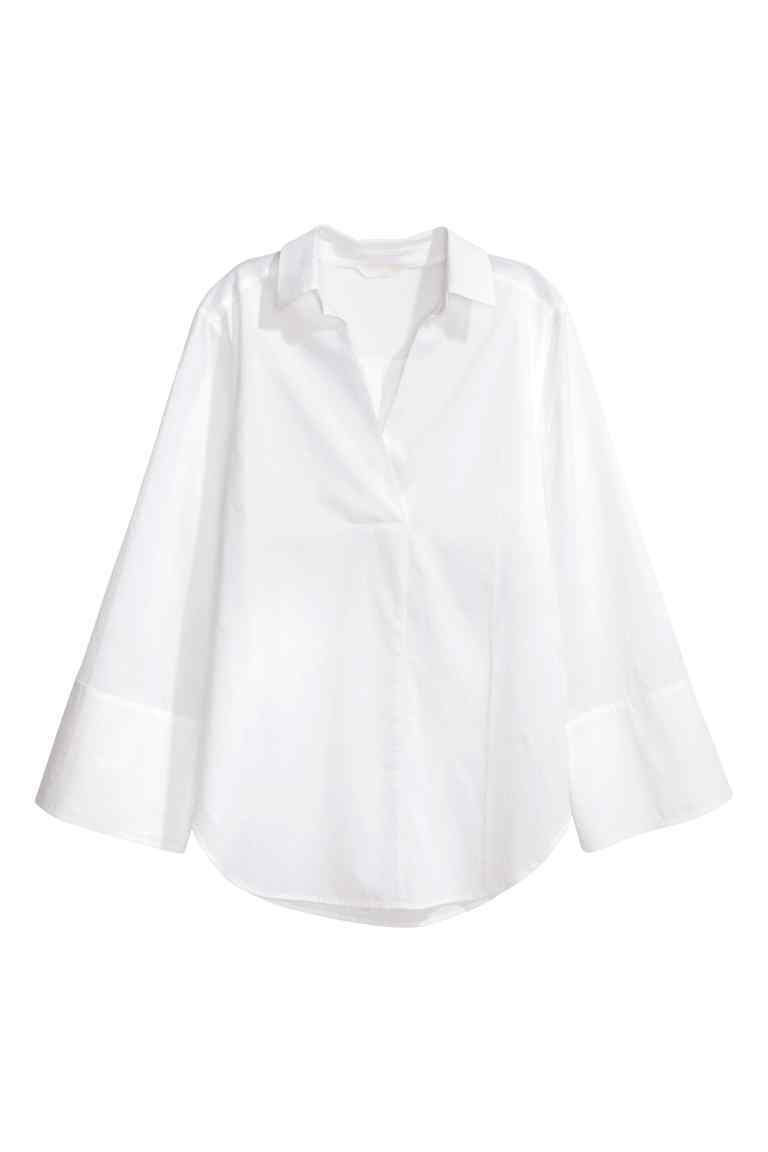 Wide Sleeved Cotton Blouse - neckline: shirt collar/peter pan/zip with opening; pattern: plain; predominant colour: white; occasions: work; length: standard; style: top; fibres: cotton - 100%; fit: body skimming; sleeve length: long sleeve; sleeve style: standard; texture group: cotton feel fabrics; pattern type: fabric; season: s/s 2016; wardrobe: basic