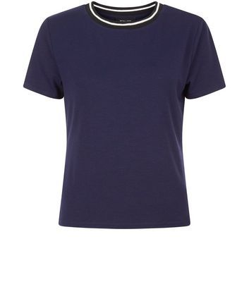 Navy Contrast Trim T Shirt - style: t-shirt; secondary colour: white; predominant colour: navy; occasions: casual; length: standard; fibres: cotton - stretch; fit: body skimming; neckline: crew; sleeve length: short sleeve; sleeve style: standard; texture group: jersey - clingy; pattern type: fabric; pattern size: standard; pattern: colourblock; season: s/s 2016; wardrobe: highlight