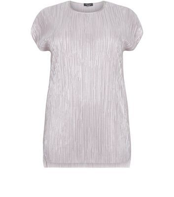 Curves Pink Metallic Pleated T Shirt - pattern: plain; length: below the bottom; style: t-shirt; predominant colour: blush; occasions: evening, creative work; fibres: polyester/polyamide - 100%; fit: straight cut; neckline: crew; sleeve length: short sleeve; sleeve style: standard; texture group: silky - light; pattern type: fabric; season: s/s 2016; wardrobe: basic