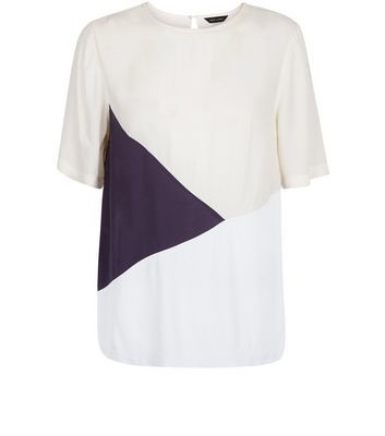 White Colour Block T Shirt - style: t-shirt; predominant colour: ivory/cream; secondary colour: navy; occasions: casual, creative work; length: standard; fibres: polyester/polyamide - 100%; fit: straight cut; neckline: crew; sleeve length: short sleeve; sleeve style: standard; texture group: crepes; pattern type: fabric; pattern size: standard; pattern: colourblock; season: s/s 2016