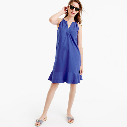 Flutter Hem Dress - style: shift; neckline: v-neck; pattern: plain; sleeve style: sleeveless; predominant colour: royal blue; occasions: casual, holiday; length: just above the knee; fit: soft a-line; fibres: polyester/polyamide - 100%; sleeve length: sleeveless; texture group: crepes; pattern type: fabric; season: s/s 2016; wardrobe: highlight