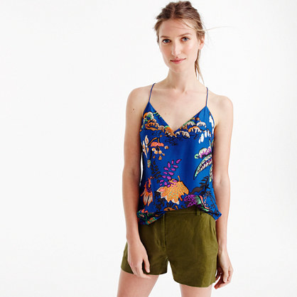 Petite Carrie Cami In Tropical Floral Print - neckline: low v-neck; sleeve style: sleeveless; style: camisole; predominant colour: royal blue; secondary colour: bright orange; occasions: casual; length: standard; fibres: silk - 100%; fit: body skimming; sleeve length: sleeveless; pattern type: fabric; pattern: florals; texture group: woven light midweight; pattern size: big & busy (top); multicoloured: multicoloured; season: s/s 2016