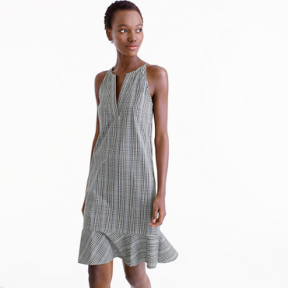 Petite Flutter Hem Dress In Plaid - style: shift; neckline: v-neck; sleeve style: sleeveless; secondary colour: white; predominant colour: black; length: just above the knee; fit: soft a-line; fibres: cotton - 100%; sleeve length: sleeveless; trends: monochrome; pattern type: fabric; pattern: patterned/print; texture group: woven light midweight; occasions: creative work; season: s/s 2016; wardrobe: highlight