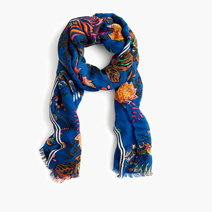 Tropical Floral Printed Scarf - predominant colour: royal blue; occasions: casual; type of pattern: heavy; style: regular; size: standard; material: fabric; pattern: florals; multicoloured: multicoloured; season: s/s 2016; wardrobe: highlight