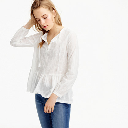 Textured Top With Tassel Tie - neckline: v-neck; pattern: checked/gingham; style: blouse; waist detail: peplum waist detail; predominant colour: white; occasions: casual; length: standard; fibres: cotton - 100%; fit: loose; sleeve length: long sleeve; sleeve style: standard; pattern type: fabric; pattern size: light/subtle; texture group: woven light midweight; season: s/s 2016; wardrobe: highlight