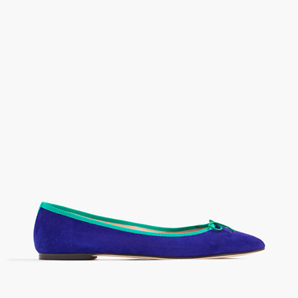 Gemma Suede Flats With Contrast Trim - predominant colour: royal blue; secondary colour: emerald green; occasions: casual, creative work; material: suede; heel height: flat; toe: pointed toe; style: ballerinas / pumps; finish: plain; pattern: colourblock; embellishment: bow; season: s/s 2016; wardrobe: highlight